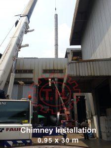 ยก ติดตั้ง ปล่องควันสแตนเลส lift installation stainlesschimney บอยเลอร์ Boiler thboiler ฮอทออยล์ Hotoil เทอร์โมออยล์ Thermo_oil